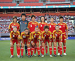 16 June 2007: China's starting eleven.  Front row (l to r): Zhang Ouying, Zhou Gaoping, Qu Feifei, Bi Yan, Song Xiaoli.  Back row (l to r): Han Duan, Zhang Yanru, Li Jie, Pu Wei, Wing Xinzhi, Liu Yali. The United States Women's National Team defeated the Women's National Team of China 2-0 at Cleveland Browns Stadium in Cleveland, Ohio in an international friendly game.