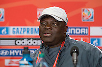 June 15, 2015: Edwin OKON coach of the Nigerian team at a press conference prior to a Group D match at the FIFA Women's World Cup Canada 2015 between Nigeria and the USA at BC Place Stadium on 16 June 2015 in Vancouver, Canada. Sydney Low/Asteriskimages.com