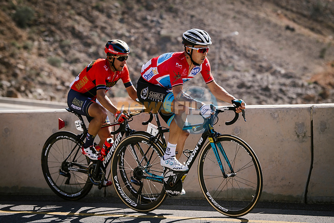 Race leader Alexey Lutsenko (KAZ) Astana Pro Team and Domenico Pozzovivo (ITA) Bahrain-Merida climb during Stage 5 of the 10th Tour of Oman 2019, running 152km from Samayil to Jabal Al Akhdhar (Green Mountain), Oman. 20th February 2019.<br /> Picture: ASO/P. Ballet | Cyclefile<br /> All photos usage must carry mandatory copyright credit (© Cyclefile | ASO/P. Ballet)