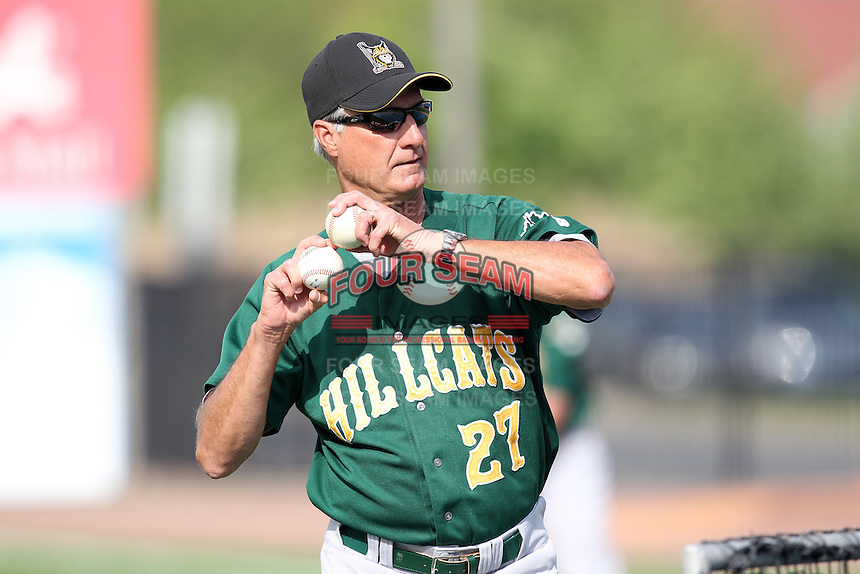 Lynchburg Hillcats pitching coach Derek Botelho #27 during batting practice before a game against the Wilmington Blue Rocks at Frawley Stadium on May 3, 2011 in Wilmington, Delaware.  Lynchburg defeated Wilmington by the score of 11-1.  Photo By Mike Janes/Four Seam Images