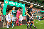 11.08.2019, Stadion Lohmühle, Luebeck, GER, DFB-Pokal, 1. Runde VFB Lübeck vs 1.FC St. Pauli<br /> <br /> DFB REGULATIONS PROHIBIT ANY USE OF PHOTOGRAPHS AS IMAGE SEQUENCES AND/OR QUASI-VIDEO.<br /> <br /> im Bild / picture shows<br /> Einlauf der Mannschaften, vl. Daniel Halke (VfB Luebeck) und Daniel Buballa (FC St. Pauli).<br /> <br /> Foto © nordphoto / Freund