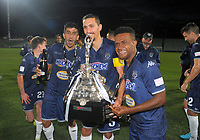 Auckland players celebrate winning the ISPS Handa Premiership football final between Auckland City FC and Team Wellington at QBE Stadium in Albany, New Zealand on Sunday, 1 April 2018. Photo: Dave Lintott / lintottphoto.co.nz