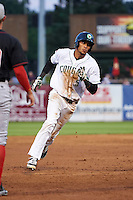 Kane County Cougars outfielder Victor Reyes (5) running the bases during a game against the Great Lakes Loons on August 13, 2015 at Fifth Third Bank Ballpark in Geneva, Illinois.  Great Lakes defeated Kane County 7-3.  (Mike Janes/Four Seam Images)