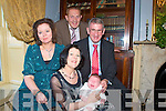 Baby Sean Michael with his parents Norma & Eamonn Kennelly and godparents Josephine Scanlon & Noel Kennelly who was christened at St Mary's Church, Listowel on Sunday by Fr. Declan O'Connor, PP Liostowel aand celebrated afterwards at the Listowel Arms Hotel.