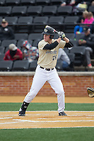 Gavin Sheets (24) of the Wake Forest Demon Deacons at bat against the Harvard Crimson at David F. Couch Ballpark on March 5, 2016 in Winston-Salem, North Carolina.  The Crimson defeated the Demon Deacons 6-3.  (Brian Westerholt/Four Seam Images)
