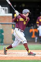 Arizona State Sun Devils third baseman Dalton Dinatale #13 swings at a pitch during a game against  the Tennessee Volunteers at Lindsey Nelson Stadium on February 23, 2013 in Knoxville, Tennessee. The Volunteers won 11-2.(Tony Farlow/Four Seam Images).