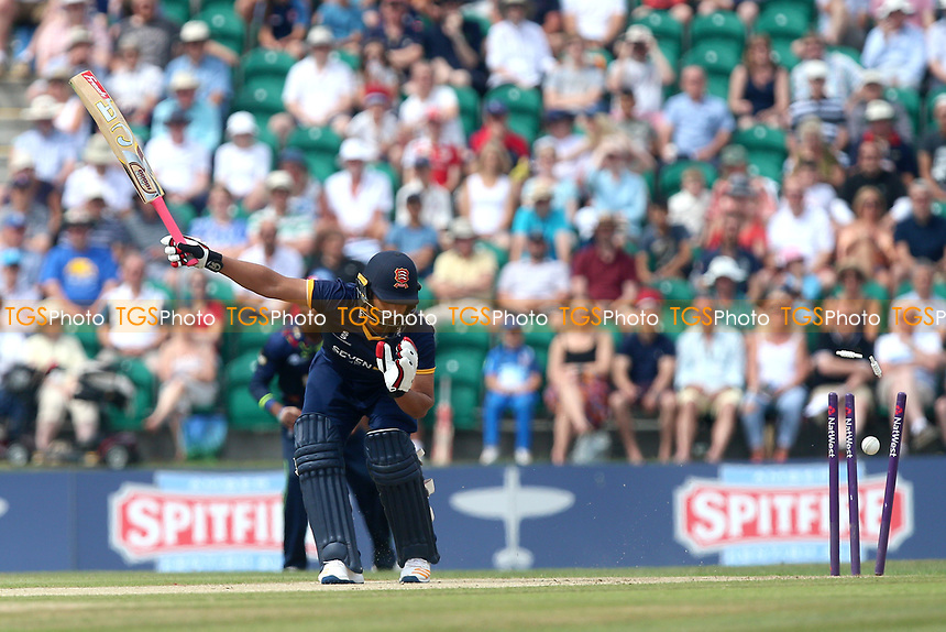 Tamim Iqbal of Essex is bowled out by Adam Milne during Kent Spitfires vs Essex Eagles, NatWest T20 Blast Cricket at The County Ground on 9th July 2017