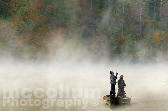 Michael McCollum<br /> 11/10/17<br /> Fishermen and fall Color and morning mist , Knob Creek, tributary to the Tennessee River, south Knoxville Tennessee.