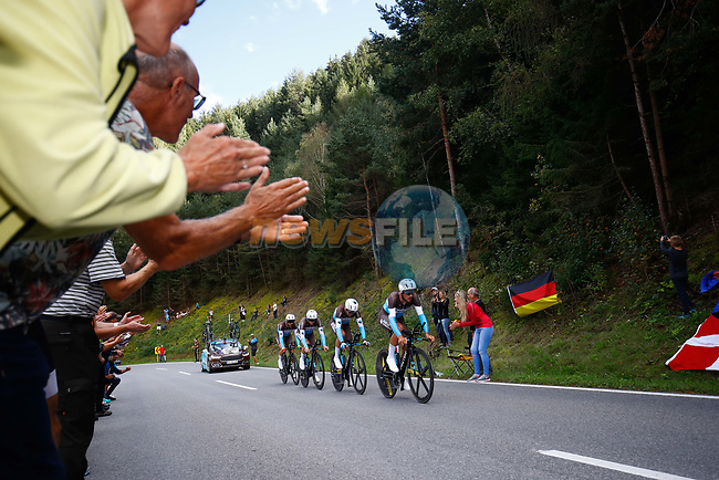 Ag2R La Mondiale in action during the Men's Elite Team Time Trial of the 2018 UCI Road World Championships running 62.8km from Ötztal to Innsbruck, Innsbruck-Tirol, Austria 2018. 23rd September 2018.<br /> Picture: Innsbruck-Tirol 2018   Cyclefile<br /> <br /> <br /> All photos usage must carry mandatory copyright credit (© Cyclefile   Innsbruck-Tirol 2018)