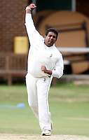S Rupasinghe bowls for Harrow during the Middlesex County Cricket League Division Three game between North Middlesex and Harrow at Park Road, Crouch End on Sat Aug 7, 2010.