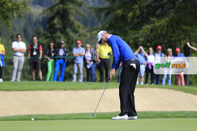 Chris WOOD (ENG) on the 10th green during Thursday's Round 1 of the 2014 Omega European Masters held at the Crans Montana Golf Club, Crans-sur-Sierre, Switzerland.: Picture Eoin Clarke, www.golffile.ie: 4th September 2014