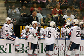 February 24th 2008:  Members of the Rochester Amerks wait during a timeout in a game vs. the Houston Aeros at Blue Cross Arena at the War Memorial in Rochester, NY.  David Brine (34), Adam Taylor (32), Hea Coach Randy Cunneyworth (standing back), Andrej Sekera (42), Yannick Tifu (16), and Mark Mancari (26).  The Aeros defeated the Amerks 4-0.   Photo copyright Mike Janes Photography 2008