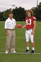 7 August 2006: Stanford Cardinal head coach Walt Harris and Ryan Fisicaro during Stanford Football's Team Photo Day at Stanford Football's Practice Field in Stanford, CA.