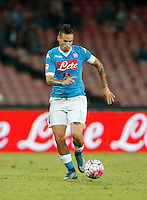 Napoli's Marek Hamsik controls the ball during the  italian serie a soccer match against    Juventus,    at  the San  Paolo   stadium in Naples  Italy , September 26 , 2015