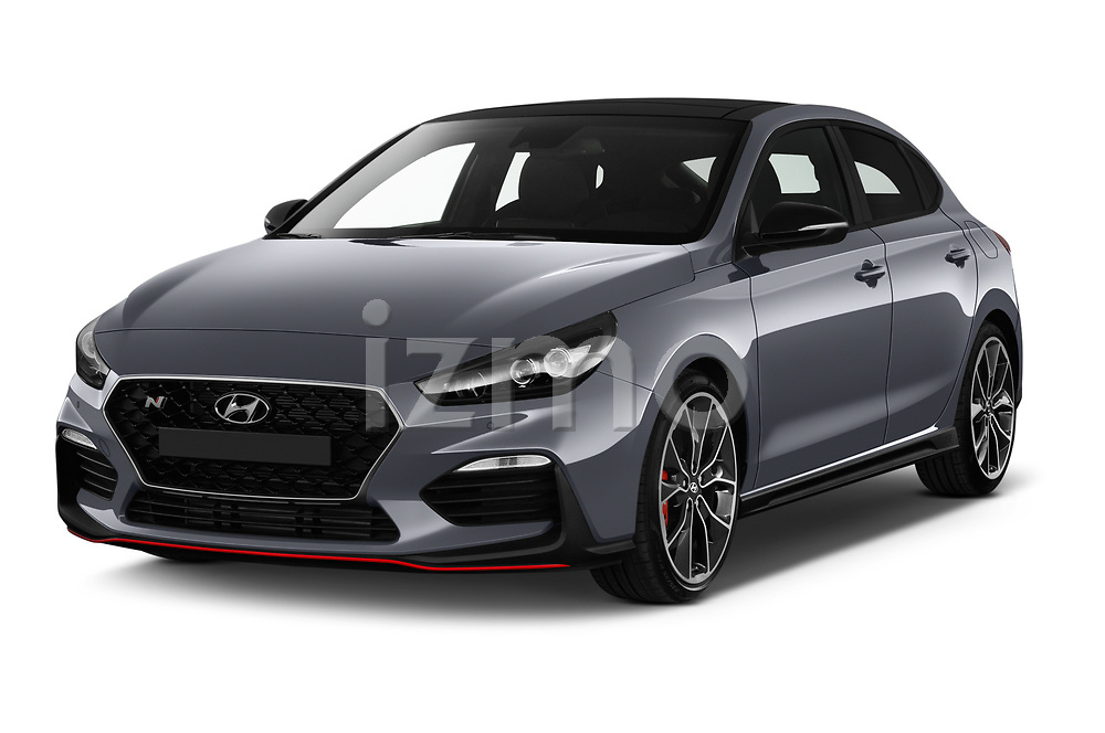 2019 Hyundai i30-Fastback-N Performance-Pack 5 Door Hatchback Angular Front stock photos of front three quarter view