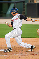 Ross Wilson #17 of the Kannapolis Intimidators follows through on his swing against the Augusta GreenJackets at CMC-Northeast Stadium on May 2, 2012 in Kannapolis, North Carolina.  The GreenJackets defeated the Intimidators 9-6.  (Brian Westerholt/Four Seam Images)