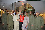 George V. Johnson Jr. (set designer) and Nana Malaya (mom of Lamman) pose with Cast L to R - Lamman Rucker, Thom Scott II, David Boykins, Layon Gray, David Roberts, Melvin Huffnagle - Back Row: Thaddeus Daniels & Steve Brustien - Layon Gray's Black Angels Over Tuskegee was performed on February 25, 2011 at the United States Memorial in Washington, DC to celebrate Black History Month. (Photo by Sue Coflin/Max Photos)
