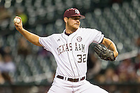 Texas A&M Aggie starting pitcher Kyle Martin #32 delivers a pitch to the plate against the Houston Cougars in the NCAA baseball game on March 1st, 2013 at Minute Maid Park in Houston, Texas. Houston defeated Texas A&M 7-6. (Andrew Woolley/Four Seam Images).