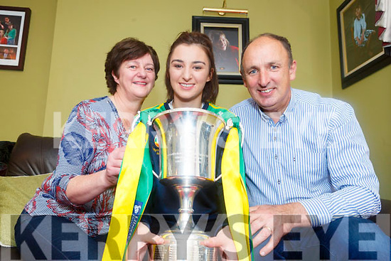 Kerry Camogie captain Niamh Leen, with her proud parents Evelyn and John Leen.