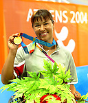 Chantal Petitclerc with the gold.<br />