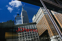 NEW YORK, NY - FEBRUARY 25:  The Empire State is reflected in a glass door at the JC Penney's headquarter on February 25, 2019 in Manhattan, New York. J.C. Penney (JCP) is expected to deliver a decline in earnings on lower revenues for the quarter ended.  (Photo by Eduardo Munoz Alvarez/VIEWpress)