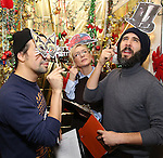 Lin-Manuel Miranda, Cate Blanchett and Josh Groban during the cast of 'Hamilton' 2016 Door Decorating Competition at Richard Rodgers Theatre on December 23, 2016 in New York City.