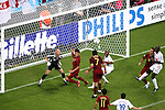 05 July 2006: Luis Figo (POR) (7) heads the rebound just over the crossbar in the second half. France defeated Portugal 1-0 at the Allianz Arena in Munich, Germany in match 62, the second semifinal game, in the 2006 FIFA World Cup.