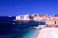 Croatia. Dubrovnik. View of the Old City, Harbour and Ploce beach. Cruise ship in the background.