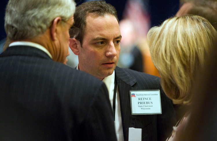 UNITED STATES - JANUARY 14:  Reince Priebus, candidate for Republican National Committee (RNC) chairman, talks with members of the RNC during the RNC's 2011 Winter Meeting held at the Gaylord National Resort & Convention Center in National Harbor, MD.  The general session took place in the morning and the election for RNC chairman took place in the afternoon.   (Photo By Tom Williams/Roll Call)