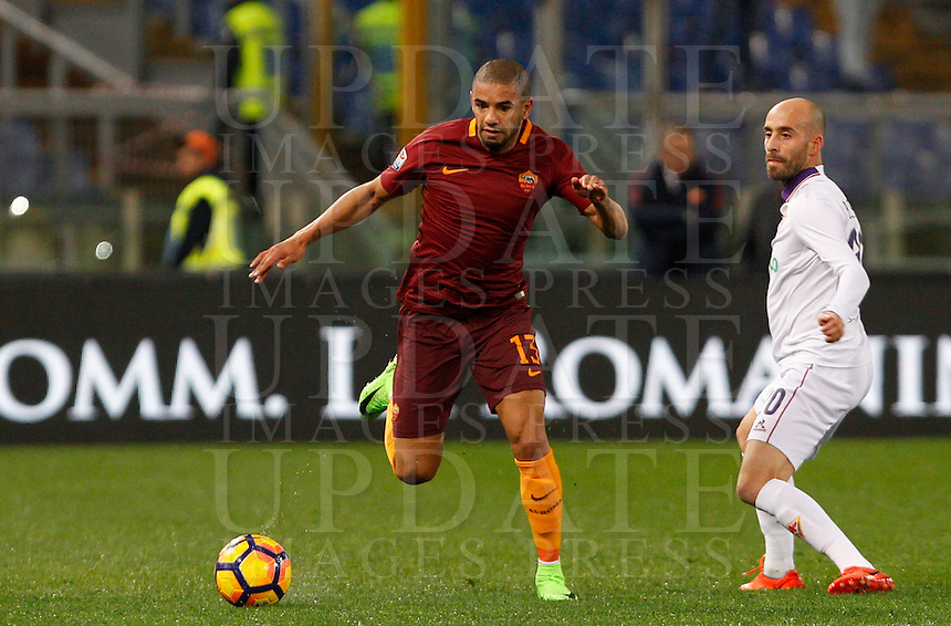 Calcio, Serie A: Roma vs Fiorentina. Roma, stadio Olimpico, 7 febbraio 2017.<br /> Roma's Bruno Peres, left, is challenged by Fiorentina's Borja Valero during the Italian Serie A soccer match between Roma and Fiorentina at Rome's Olympic stadium, 7 February 2017.<br /> UPDATE IMAGES PRESS/Riccardo De Luca