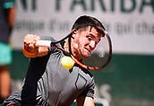 June 10th 2017, Roland Garros, Paris, France; Mens singles wheelchair final, Hewett (gbr) versus Fernandez (arg);  Gustavo Fernandez (Arg) The 19-year-old Hewett (GBR) won 0-6 7-6 (11-9) 6-2 against Argentina's Gustavo Fernandez to claim his first Grand Slam title.