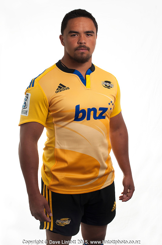 Mike Kainga. Hurricanes Super Rugby official headshots at Rugby League Park, Wellington, New Zealand on Tuesday, 13 January 2015. Photo: Dave Lintott / lintottphoto.co.nz