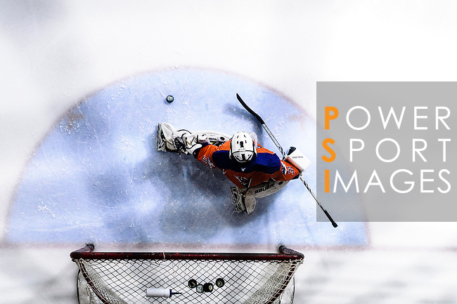 Principal Team Goalie #31 Matthew Young (l) makes a save on Gaggia Empire during the Principal Standard League match between Principal vs Gaggia Empire at the Mega Ice on 24 January 2017 in Hong Kong, China. Photo by Marcio Rodrigo Machado / Power Sport Images