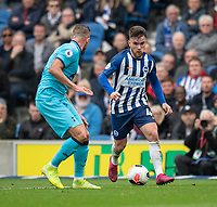 Brighton & Hove Albion's Aaron Connolly (right) under pressure from Tottenham Hotspur's Toby Alderweireld (left) <br /> <br /> Photographer David Horton/CameraSport<br /> <br /> The Premier League - Brighton and Hove Albion v Tottenham Hotspur - Saturday 5th October 2019 - The Amex Stadium - Brighton<br /> <br /> World Copyright © 2019 CameraSport. All rights reserved. 43 Linden Ave. Countesthorpe. Leicester. England. LE8 5PG - Tel: +44 (0) 116 277 4147 - admin@camerasport.com - www.camerasport.com