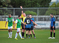 Miramar's Tim Schaeffers is sent off for his second yellow card in the space of minutes during the Chatham Cup football match between Miramar Rangers and Wairarapa United at David Farrington Park, Wellington, New Zealand on Monday, 3 June 2013. Photo: Dave Lintott / lintottphoto.co.nz