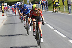Laura Stigger (AUT) leads the Women Junior Road Race of the 2018 UCI Road World Championships running 71.7km from Wattens to Innsbruck, Innsbruck-Tirol, Austria 2018. 27th September 2018.<br /> Picture: Innsbruck-Tirol 2018| Cyclefile<br /> <br /> <br /> All photos usage must carry mandatory copyright credit (&copy; Cyclefile | Innsbruck-Tirol 2018)