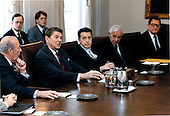 United States President Ronald Reagan meets with members of the Geneva Delegation in the Cabinet Room in the White House in Washington, D.C. on Wednesday, January 16, 1985. From left are: U.S. Secretary of State George Shultz; President Reagan; U.S. Secretary of Defense Caspar Weinberger; Ambassador Paul Nitze; and Ambassador Edward Rowny..Mandatory Credit: Bill Fitz-Patrick - White House via CNP