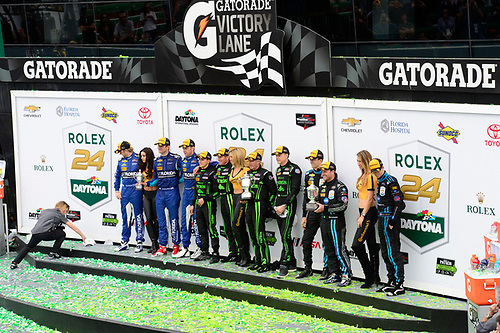 28-31  January, 2016, Daytona Beach, Florida USA<br /> Podium:  P class:  (L-R) 90, Chevrolet, Corvette DP, P, Ryan Dalziel, Marc Goossens, Ryan Hunter-Reay, 2, Honda HPD, Ligier JS P2, P, Scott Sharp, Ed Brown, Joannes van Overbeek, Luis Felipe Derani, 10, Chevrolet, Corvette DP, P, Ricky Taylor, Jordan Taylor, Rubens Barrichello<br /> ©2016, Richard Dole<br /> LAT Photo USA