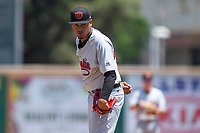 Visalia Rawhide starting pitcher Emilio Vargas (26) looks to his catcher for the sign against the Rancho Cucamonga Quakes at LoanMart Field on May 14, 2018 in Rancho Cucamonga, California. The Rawhide defeated the Quakes 5-0.  (Donn Parris/Four Seam Images)