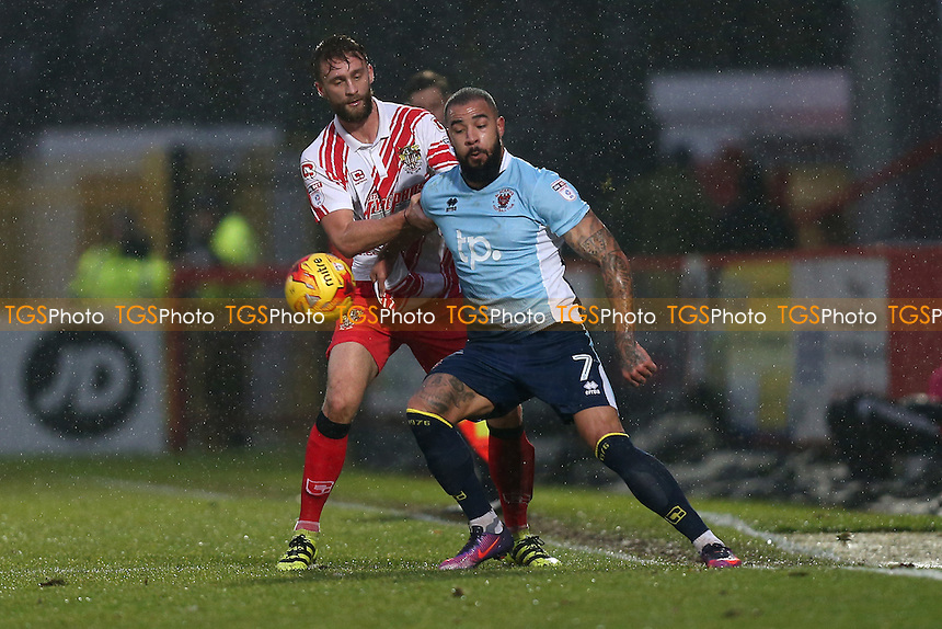 Kyle Vassell of Blackpool and Fraser Franks of Stevenage during Stevenage vs Blackpool, Sky Bet EFL League 2 Football at the Lamex Stadium on 10th December 2016