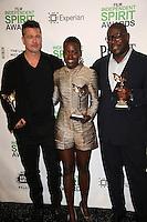 Brad Pitt, Lupita Nyong'o, Steve McQueen<br /> at the 2014 Film Independent Spirit Awards Press Room, Santa Monica Beach, Santa Monica, CA 03-01-14<br /> David Edwards/Dailyceleb.com 818-249-4998