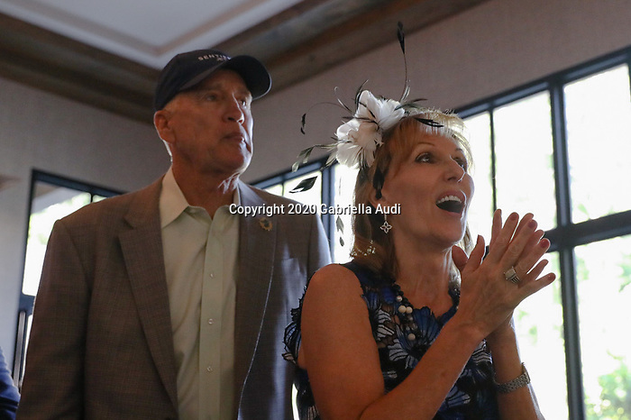 June 20, 2020: Dean and Patti Reeves cheer for their horse, Sole Volante, in the Belmont Stakes from a house in Suwanee, Georgia. Tiz The Law won the race. Gabriella Audi/Eclipse Sportswire/CSM