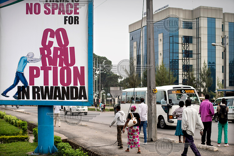 A billboard advert with the slogan: 'No space for corruption in Rwanda'. The Rwandan government has strong policies against corruption.