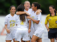 Florida International University Golden Panthers against Stetson at Miami, Florida on Sunday, September 23, 2007.  The Golden Panthers won, 2-1...FIU sophomore midfielder/forward Michelle Casadevall (12, right), Marina Pappas (16, middle) celebrate the game winning goal by freshman forward Claudia Cardenas (7, center) at 86:34 in the second half.
