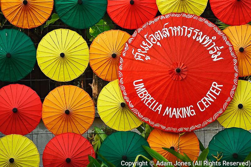 Sign at Umbrella Making Center, Bosang, Chiang Mai, Thailand