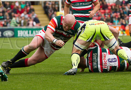 April 29th 2017, Welford Road Stadium, Leicester, England; Aviva Premier league rugby, Leicester Tigers versus Sale;  Dan Cole (Leicester Tigers) working hard in the loose