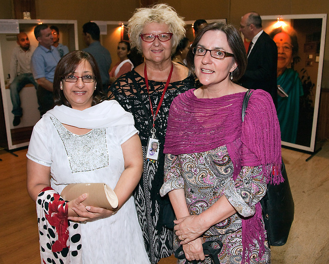 16 December, 2012, Kochin, INDIA:  Australian artists Di Ball (centre) and Mandy Ridley (right) at the Kochi-Muziris Biennale were guests of honor at a dinner hosted by representatives of the Australian High Commission at the Gateway Hotel. The Biennale curators travelled Down Under to select an exciting group of artists to take part in this celebration of contemporary art from around the world, which is expected to become one of Asia's best arts events. The Biennale acknowledges the cosmopolitan modernity of Kochi and the international connections established by the ancient port of Muziris that existed 30km north of Kerala's current commercial capital. Picture by Graham Crouch/DFAT