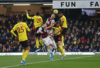 Burnley's James Tarkowski and Ashley Barnes challenge Watford's Etienne Capoue, Craig Dawson and Adrian Mariappa<br /> <br /> Photographer Rob Newell/CameraSport<br /> <br /> The Premier League - Watford v Burnley - Saturday 23rd November 2019 - Vicarage Road - Watford <br /> <br /> World Copyright © 2019 CameraSport. All rights reserved. 43 Linden Ave. Countesthorpe. Leicester. England. LE8 5PG - Tel: +44 (0) 116 277 4147 - admin@camerasport.com - www.camerasport.com
