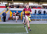 Captain Gordon Kelly leads out his team before the county senior football final win over Ennistymon at Cusack Park. Photograph by John Kelly.