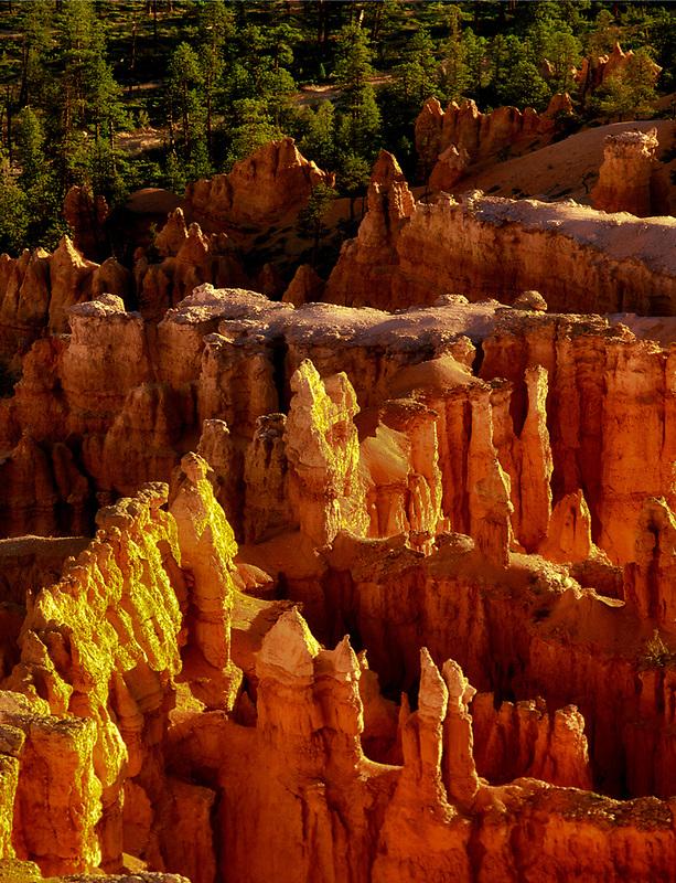 Closeup view of pinnacles at Bryve Canyon National Park, Utah
